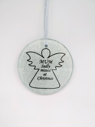 Mum  glass angel memorial tree hanger.